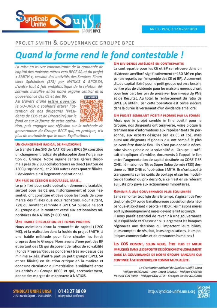 thumbnail of NN 2019-01 Projet SMITH & Gouvernance Groupe – Quand la forme rend le fond contestabl