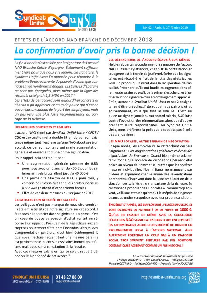 thumbnail of NN 2019-02 Accord NAO – La confirmation d'avoir pris la bonne decisio