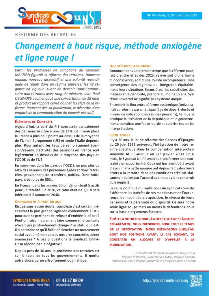 thumbnail of NN 2019-06 Réforme des retraites – Changement à haut risque, méthode anxiogène et ligne rouge
