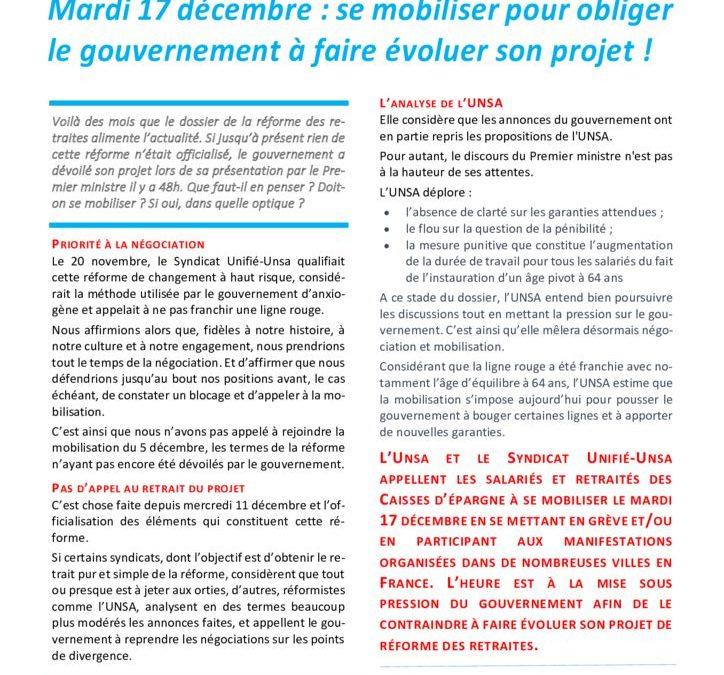 Mardi 17 décembre : se mobiliser pour obliger le gouvernement à faire évoluer son projet !