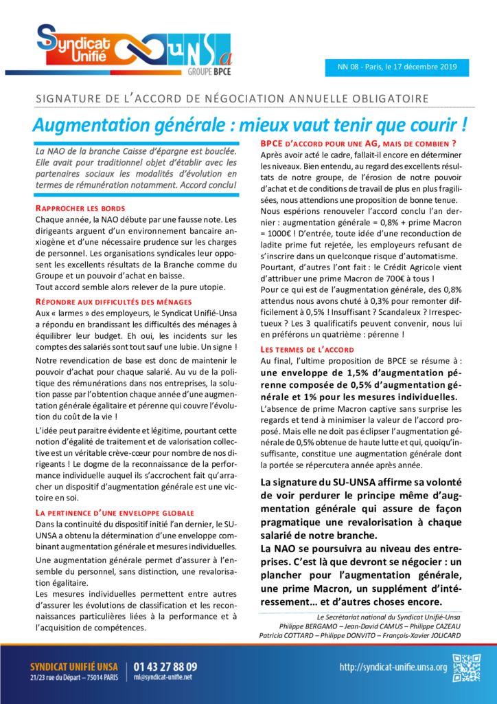 thumbnail of NN 2019-08 NAO 2019 – Augmentation générale Mieux vaut tenir ue courir